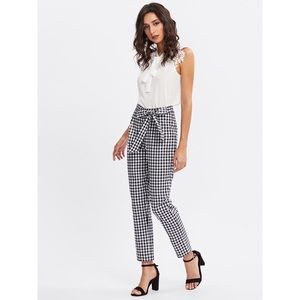 Pants - Black and white gingham bow tie cigarette pants